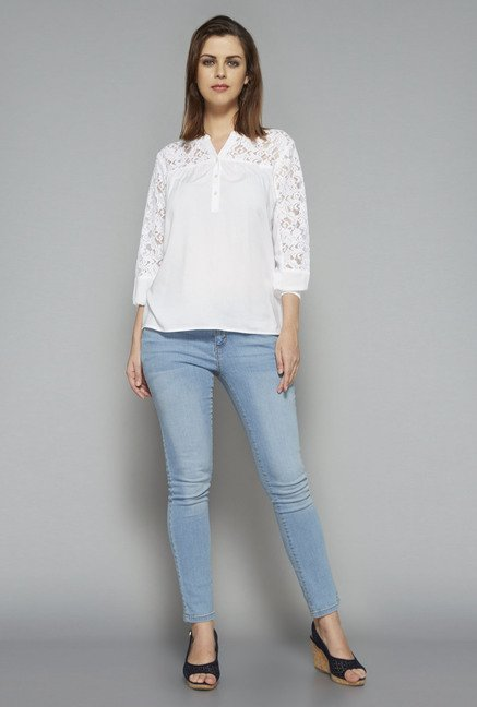 LOV by Westside White Grace Blouse