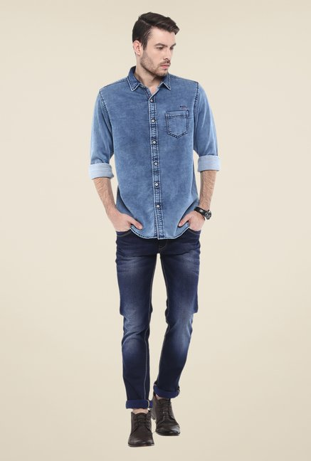 Mufti Blue Solid Shirt