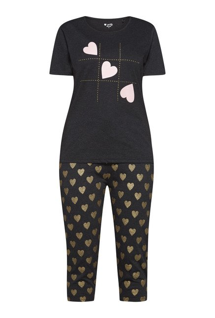 Intima by Westside Grey & Black Heart Print Capri Set