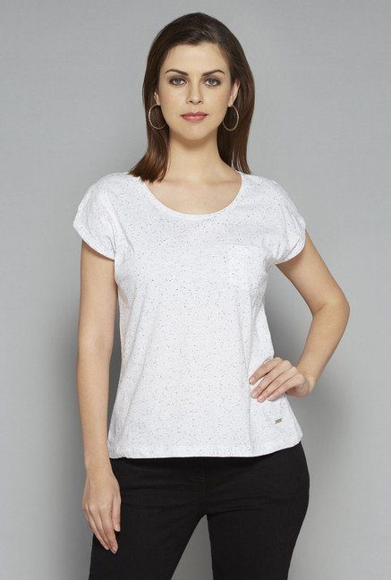 LOV by Westside White Textured Lana T Shirt