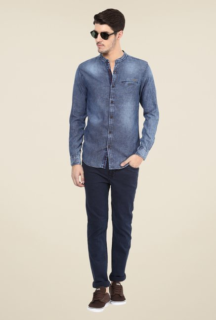 Mufti Blue Textured Shirt