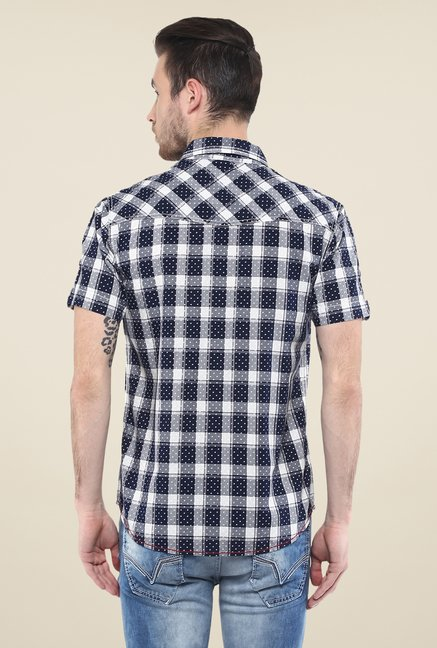 Mufti Navy Printed Shirt