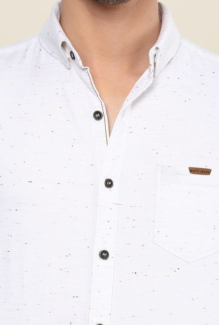 Mufti White Textured Shirt