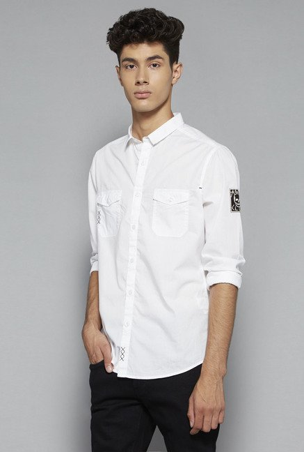 Nuon by Westside White Slim Fit Solid Shirt