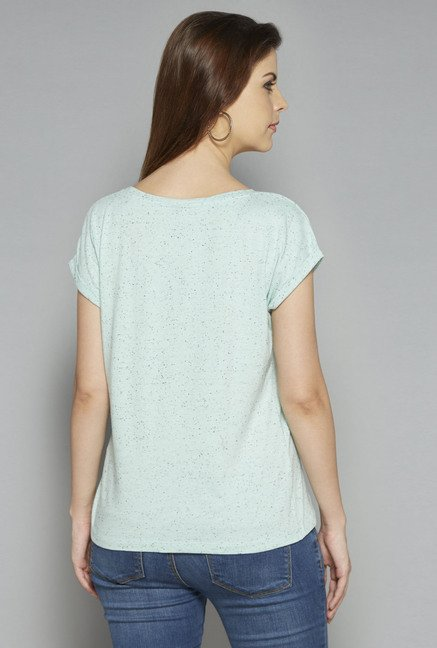 LOV by Westside Blue Textured Lana T Shirt
