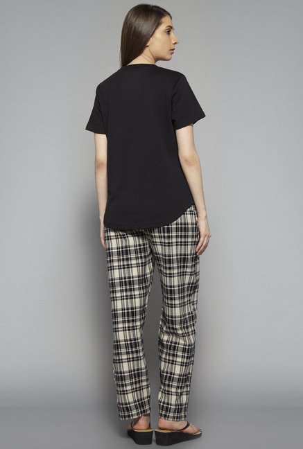 Intima by Westside Black Checks Pyjama Set