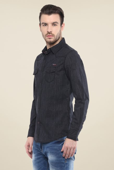 Mufti Black Textured Shirt