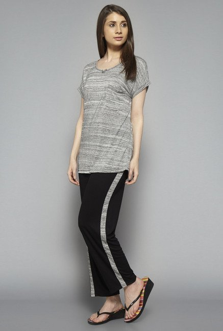 Intima by Westside Black & Grey Solid Pyjama Set