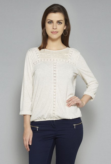 LOV by Westside Beige Textured Dori T Shirt