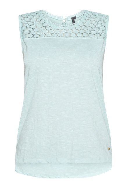 LOV by Westside Blue Textured Jonna Top