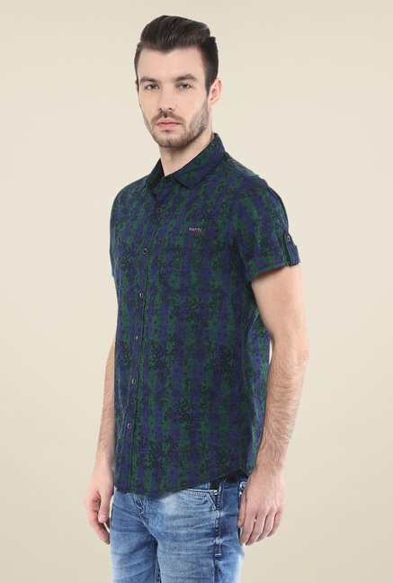 Mufti Green Printed Shirt