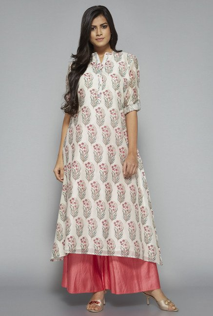 Zuba by Westside Off White Floral Print Kurta