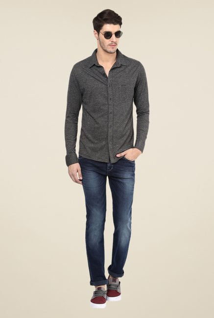 Mufti Grey Textured Shirt