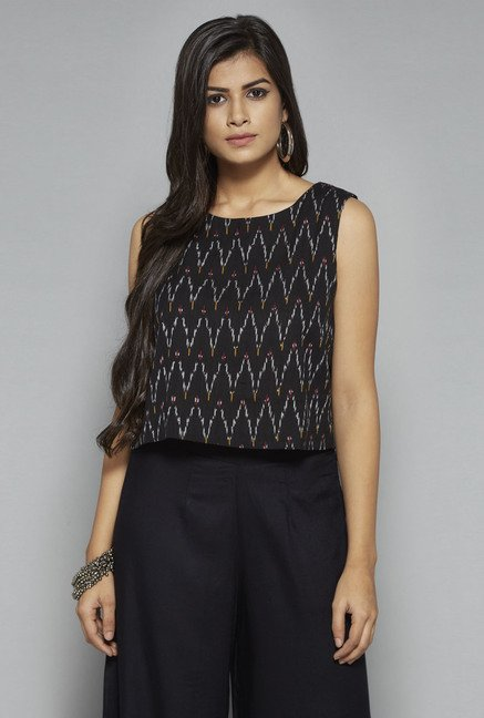 Bombay Paisley by Westside Black Crop Top