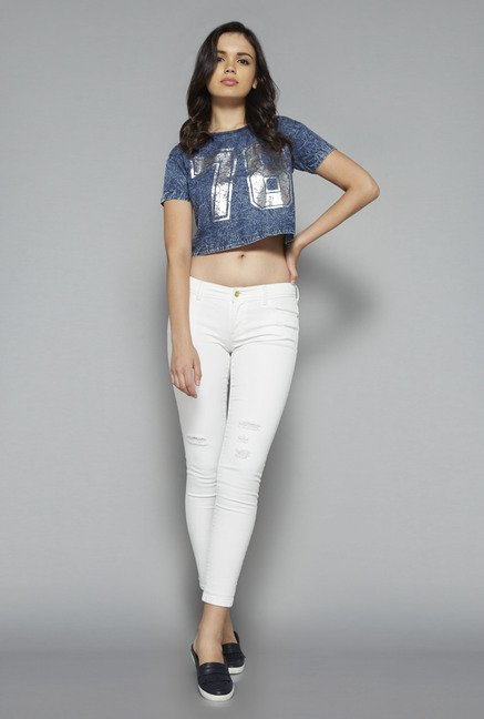 Nuon by Westside Blue Printed Crop Top
