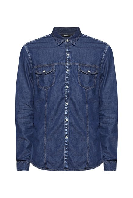 Nuon by Westside Blue Slim Fit Solid Shirt