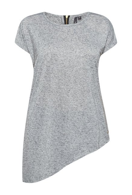 LOV by Westside Grey Textured Benzy T Shirt