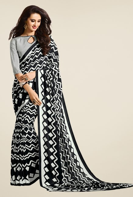 Salwar Studio Black & White Chevron Print Saree