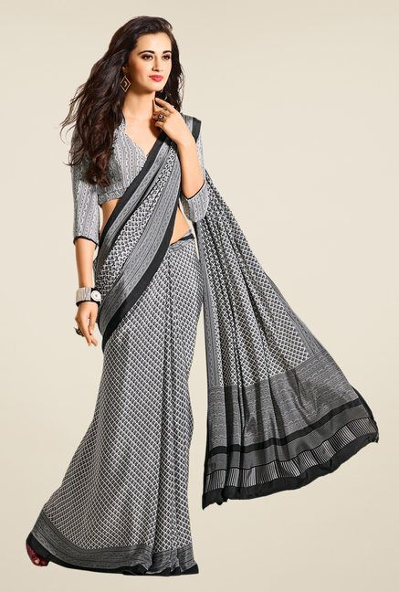 Salwar Studio Black & White Argyle Print Saree