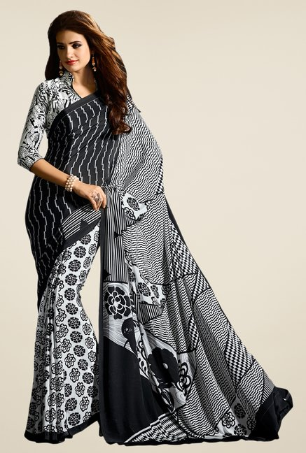 Salwar Studio Black & White Floral Print Saree