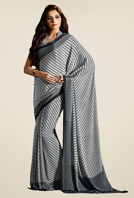 Salwar Studio Black & White Self Print Saree