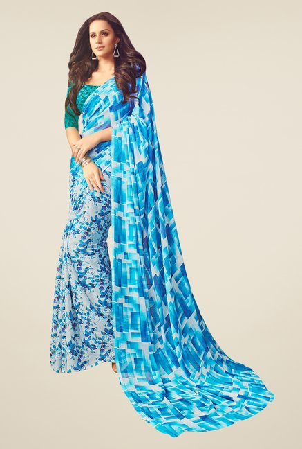 Salwar Studio Blue & White Floral Print Saree