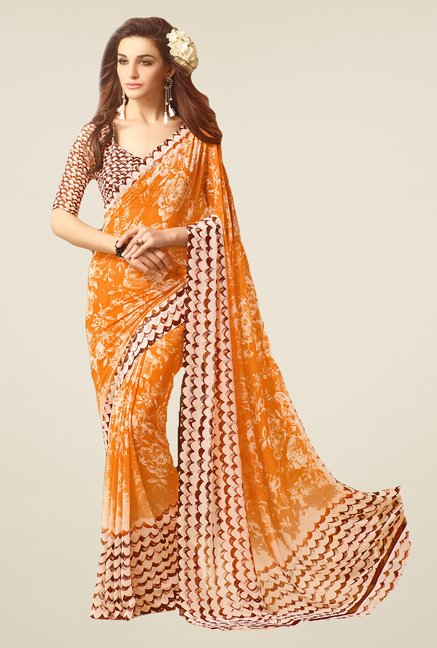 Salwar Studio Orange & Brown Floral Print Saree