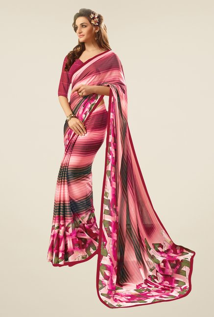 Salwar Studio Pink & Wine Striped Saree