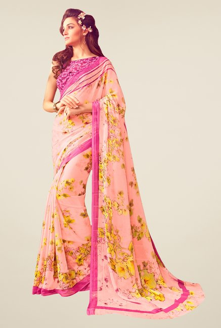 Salwar Studio Light Pink & Yellow Floral Print Saree