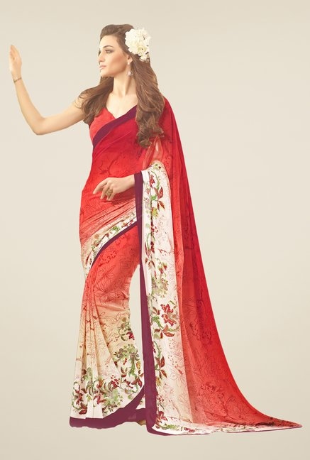Salwar Studio Red & White Floral Print Saree