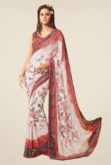 Salwar Studio White & Red Floral Print Saree