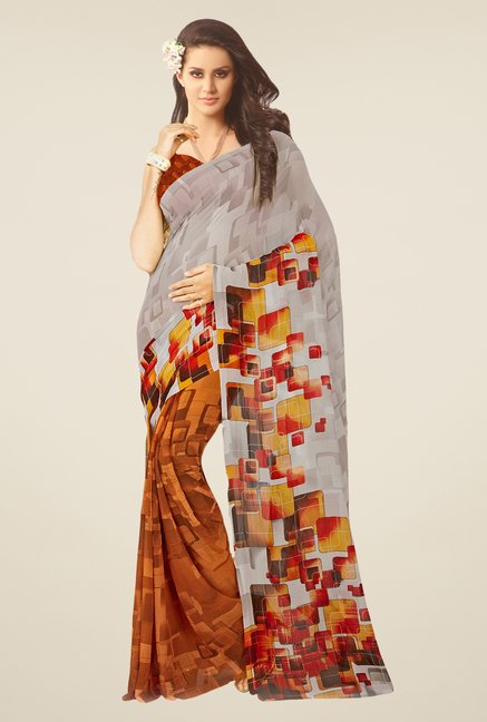 Salwar Studio Grey & Brown Geometric Print Saree