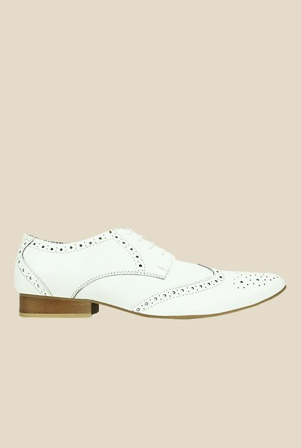 Get Glamr Jon White Brogue Shoes