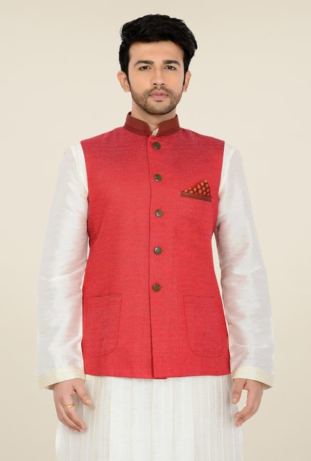 Manyavar Peach Textured Nehru Jacket
