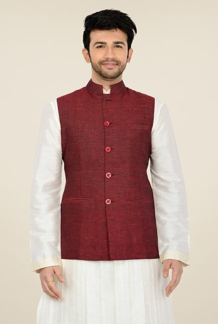 Manyavar Maroon Textured Nehru Sleeveless Jacket