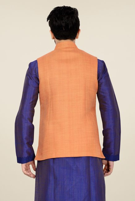 Manyavar Orange Textured Nehru Jacket