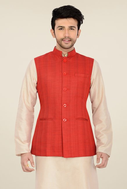 Manyavar Red Textured Nehru Jacket
