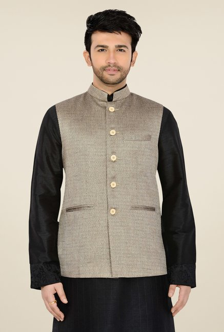 Manyavar Grey Textured Nehru Jacket