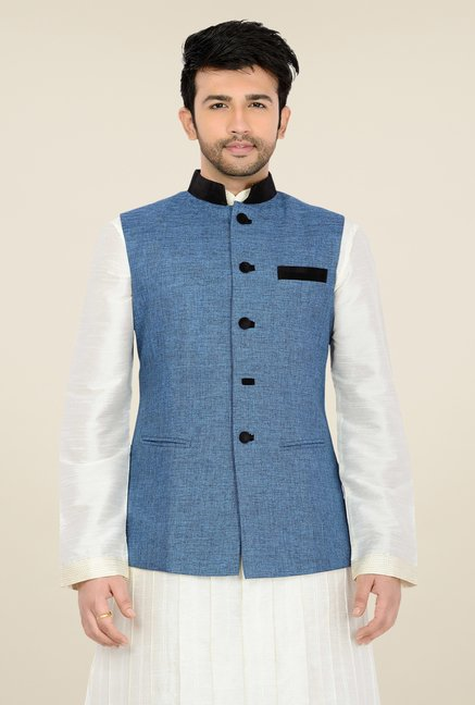 Manyavar Blue Textured Nehru Sleeveless Jacket