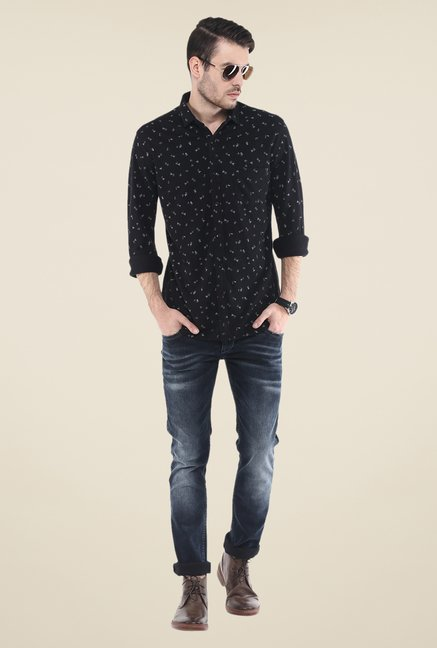 Mufti Black Printed Shirt