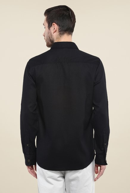 Mufti Black Solid Shirt