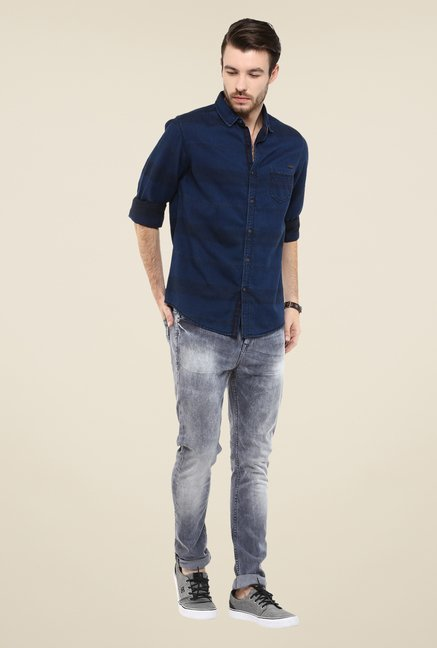 Mufti Navy Striped Shirt