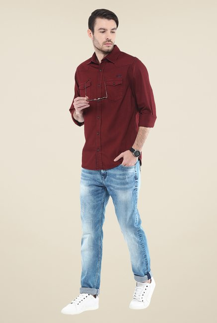 Mufti Maroon Solid Shirt