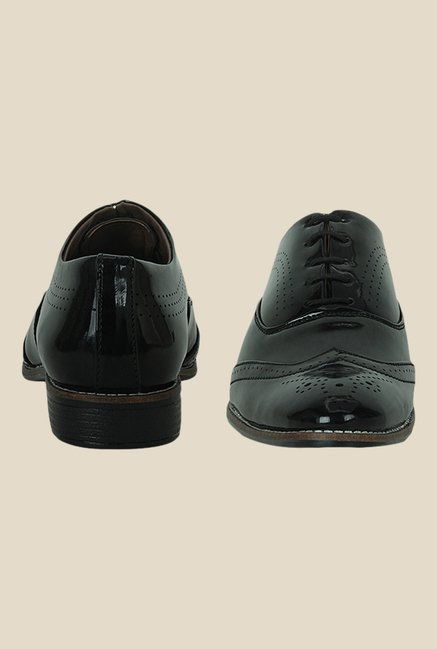 Get Glamr Davis Black Brogue Shoes