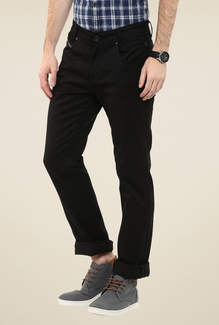 Mufti Jet Black Solid Jeans