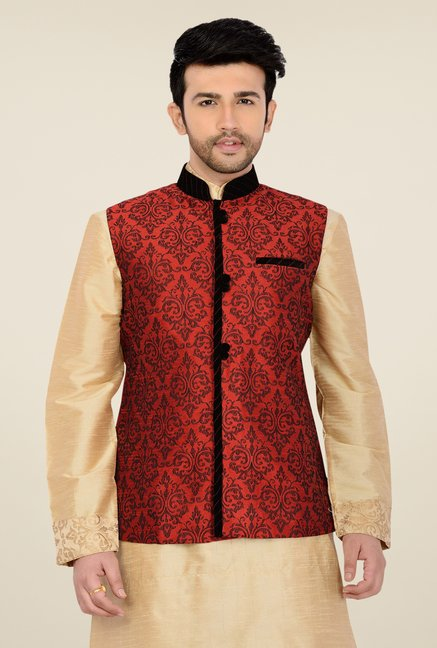 Manyavar Red Self Print Nehru Jacket