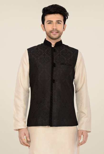 Manyavar Black Self Print Nehru Jacket