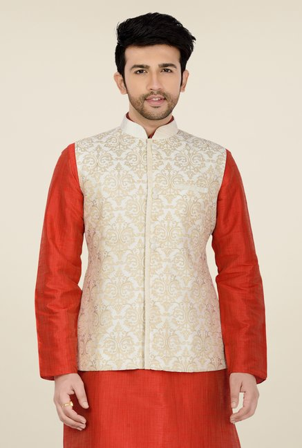 Manyavar Off White Self Print Nehru Jacket