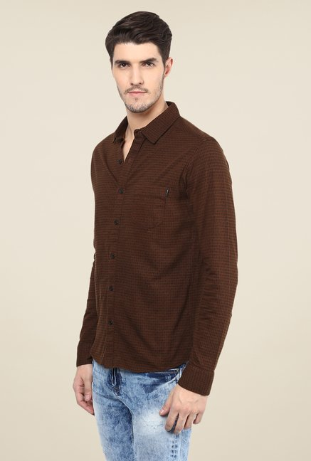 Mufti Brown Printed Shirt