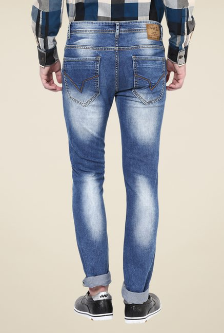 Mufti Mid Blue Distressed Jeans